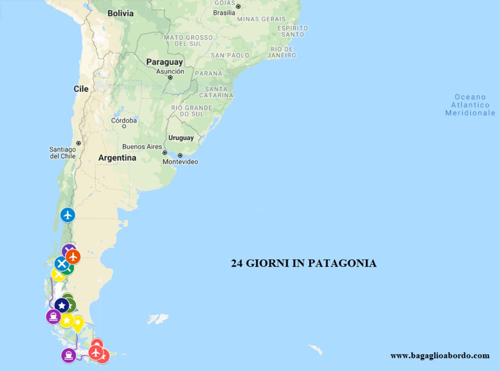 Patagonia Cartina Geografica.Mappa Per Un Itinerario Di Viaggio Fai Da Te In Patagonia Bagaglio A Bordo